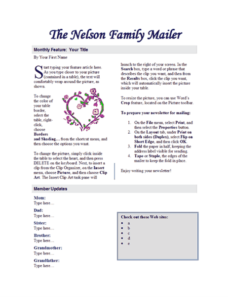 Family newsletter (2 pages)