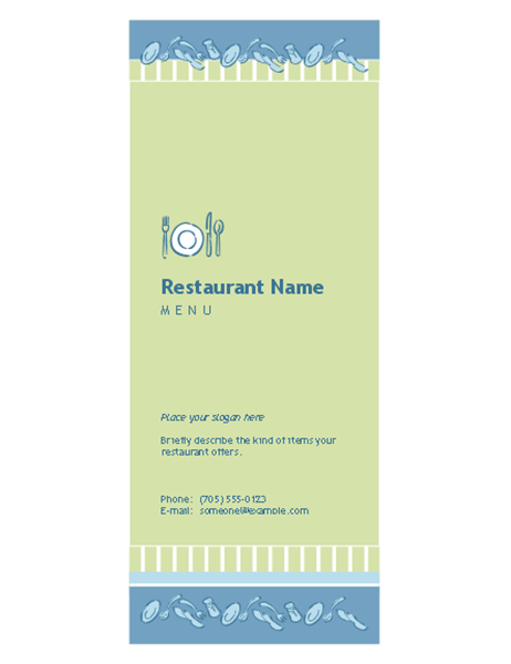 Elegant Tri Fold Restaurant Menu  Microsoft Office Menu Templates