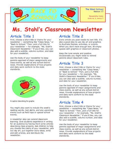 School newsletter 2 col 2 pp for Meet the teacher brochure template