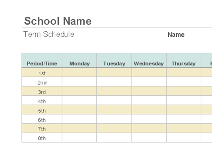 Weekly class schedule for College school schedule template