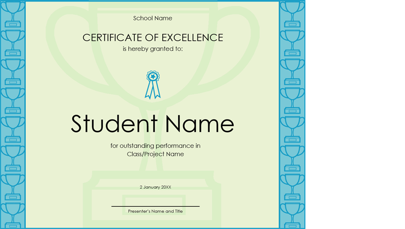 Certificate of excellence for student yadclub Choice Image