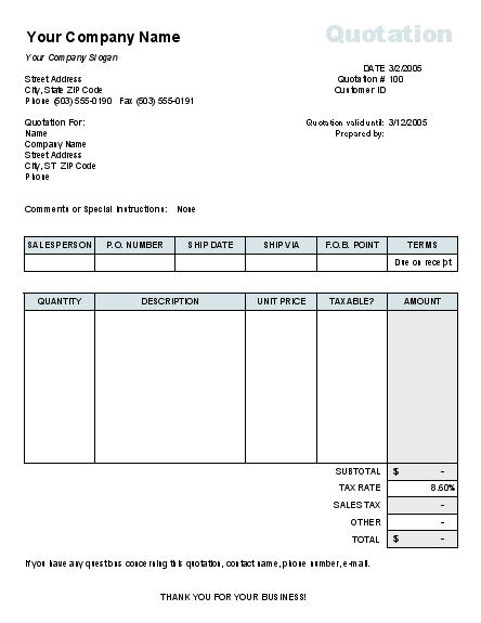 Price quote with tax calculation - Office Templates