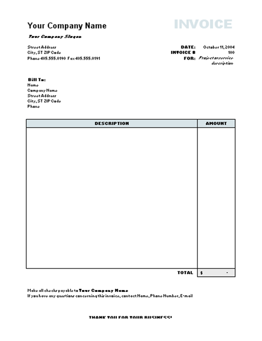 free online invoice templates for word
