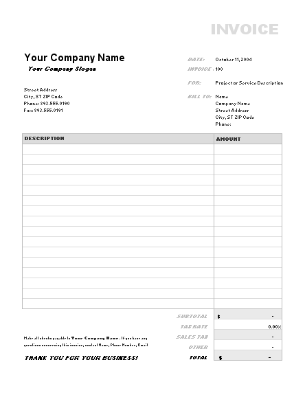 office 365 invoice template