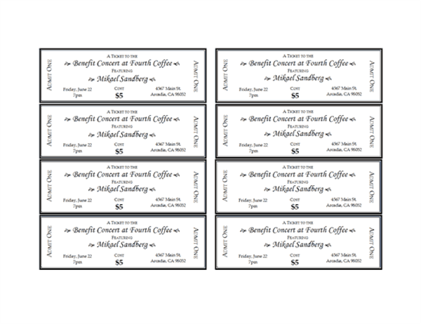 Event Tickets Office Templates - Raffle ticket template word