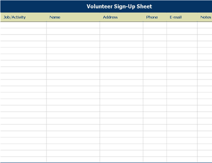 Volunteer sign-up sheet - Office Templates