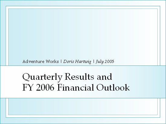 Quarterly earnings presentation