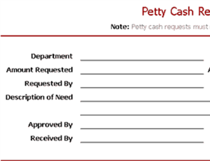 Petty Cash Request Slip  Petty Cash Form Template