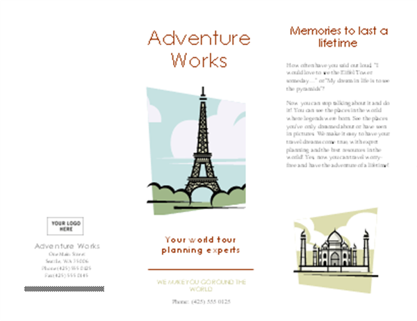 Marvelous Travel Brochure Word  Microsoft Word Pamphlet Template