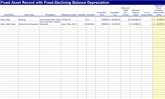 Fixed asset record with fixed-declining depreciation