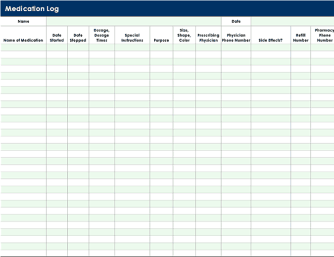 patient tracking template - logs