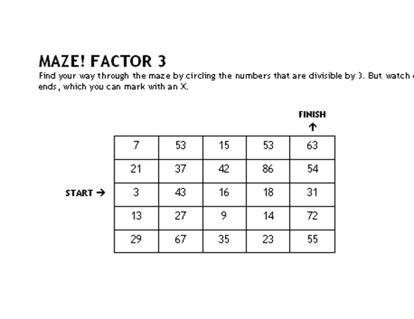 Math maze game (factors of 3)