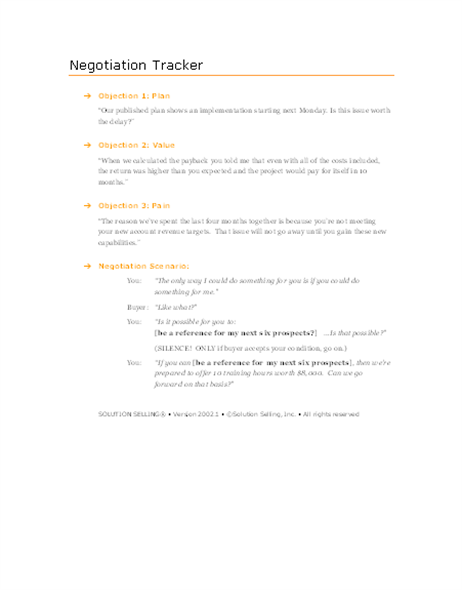 Sales negotiation scenario planner