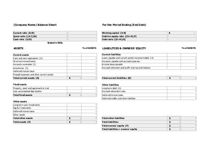 Balance Sheet With Financial Ratios  Financial Balance Sheet Template