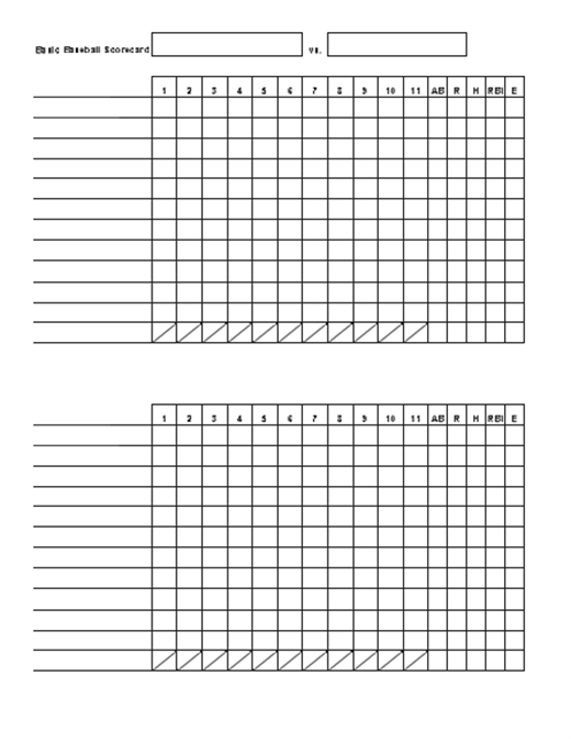 Basic baseball scorecard office templates for Department scorecard template