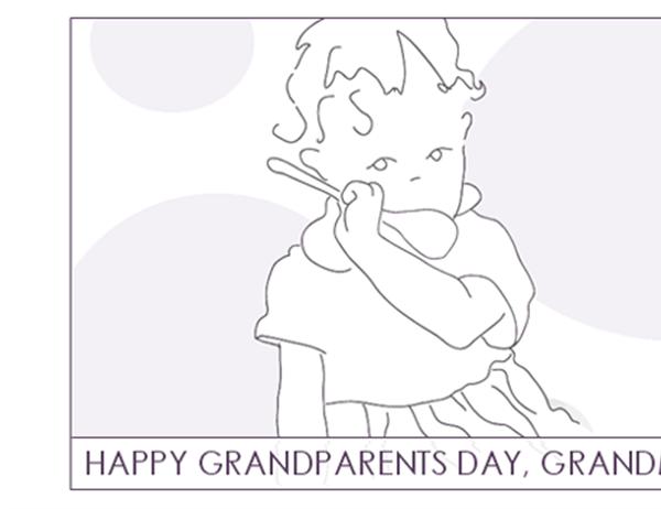 Grandparents Day card (for Grandma, quarter-fold, A2 size)