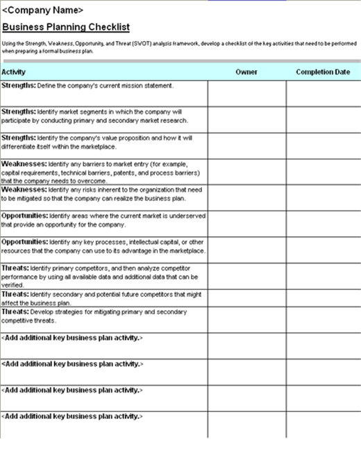 Business plans office business plan checklist with swot analysis accmission Image collections