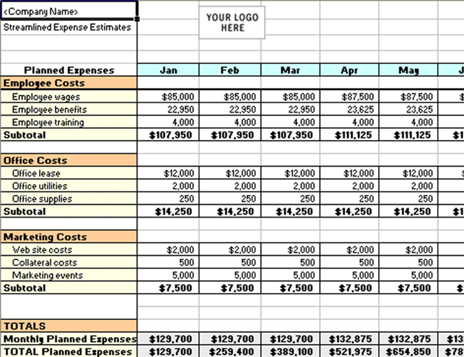 Streamlined expense estimates