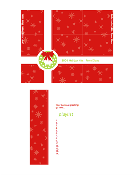 Holiday CD or DVD case insert (red giftwrap design)