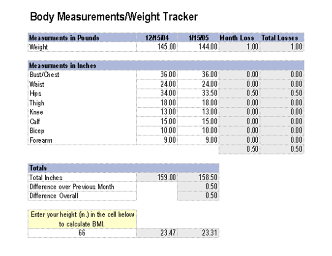 Measurements/weight tracker - Office Templates