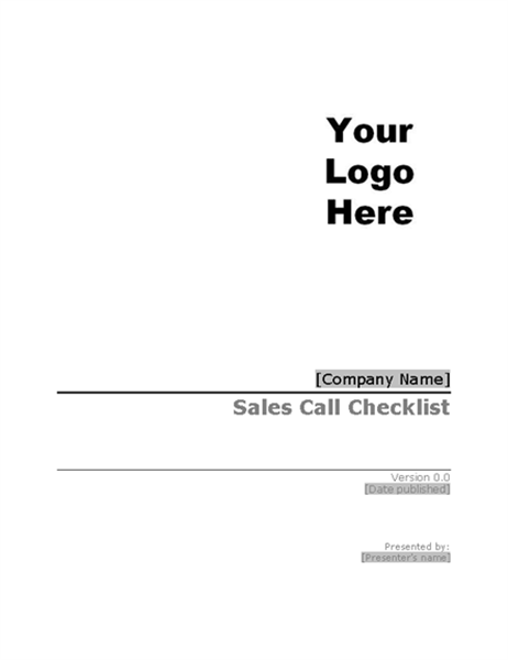 Sales call checklist