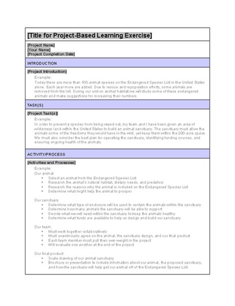 Projectbased Learning Example Exercise Office Templates - Project based learning lesson plan template