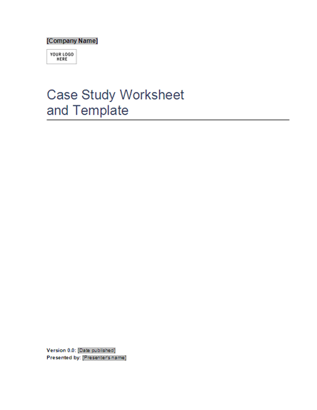 Case study worksheet and template