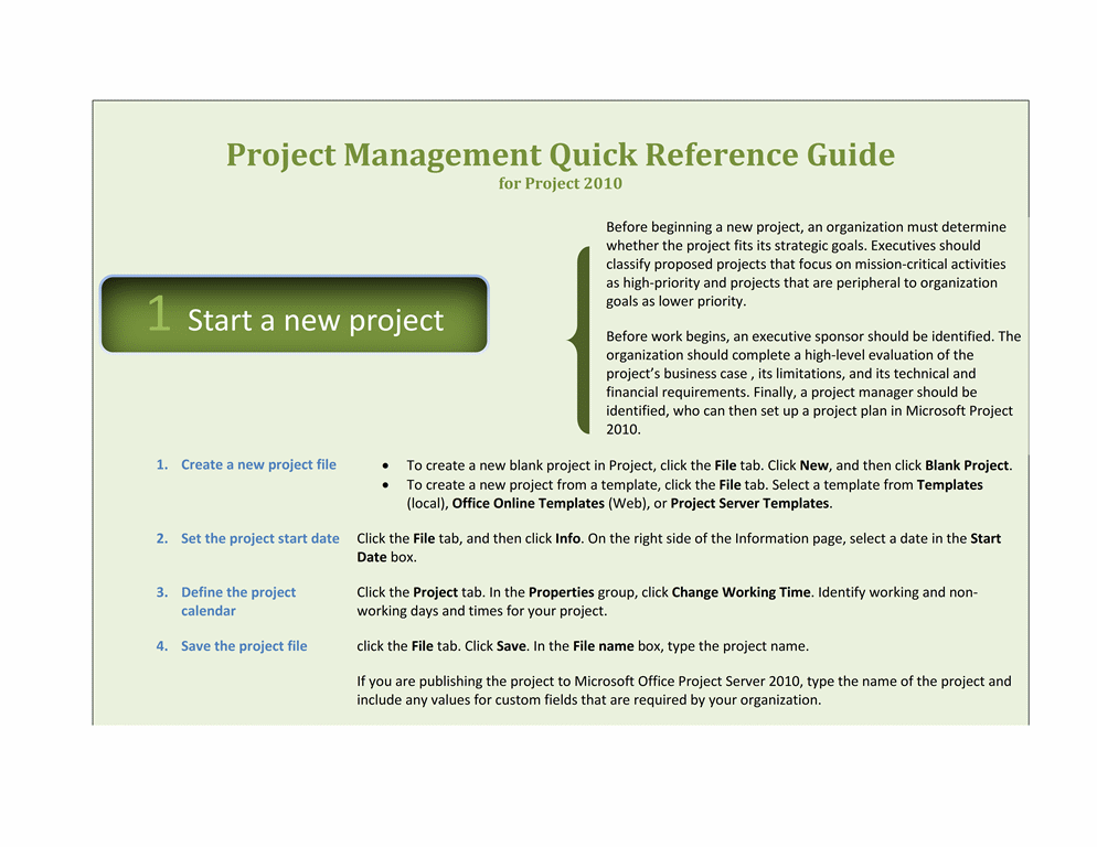 Project 2010 quick reference guide