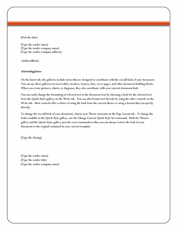 Mail merge letter (Equity theme)