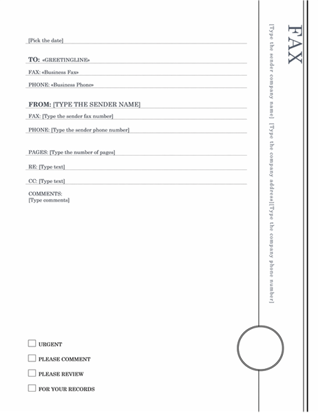 Mail merge fax (Oriel theme)