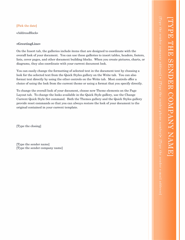 Mail merge letter (Oriel theme)