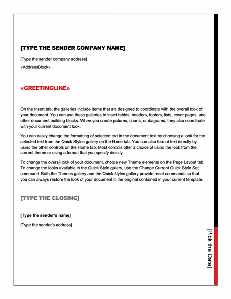 Mail merge letter (Essential design)