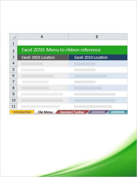 Excel 2010: Menu to ribbon reference workbook