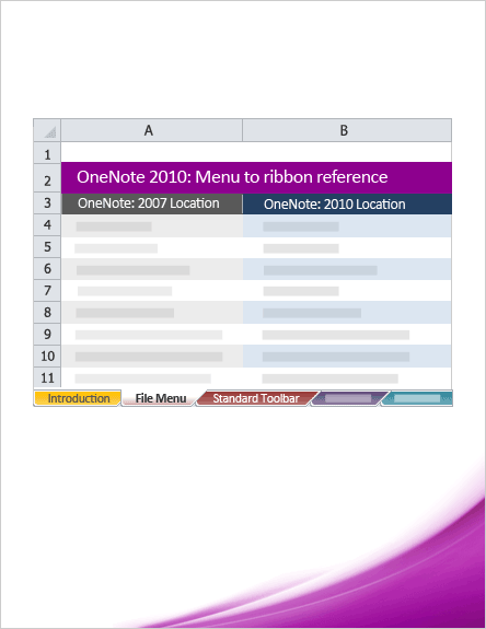 OneNote 2010: Menu to ribbon reference workbook