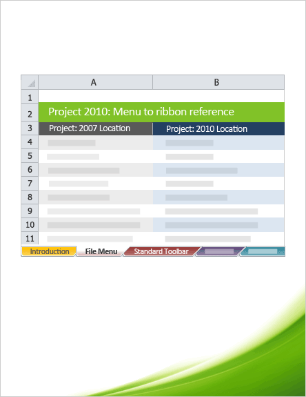 Project 2010: Menu to ribbon reference workbook