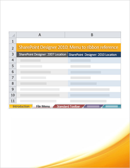 SharePoint Designer 2010: Menu to ribbon reference workbook