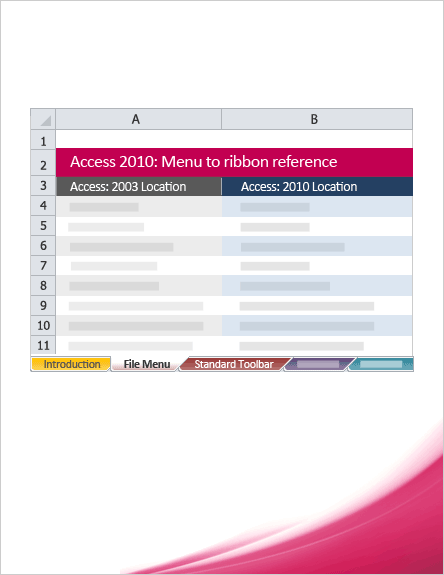 Access 2010: Menu to ribbon reference workbook