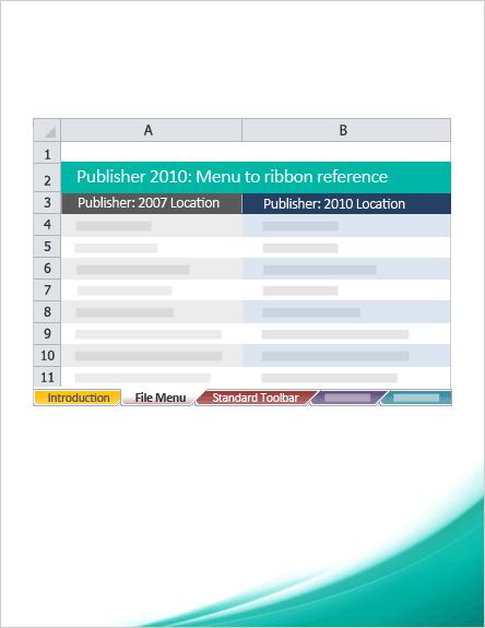 Publisher 2010: Menu to ribbon reference workbook