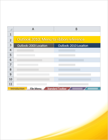 Outlook 2010: Menu to ribbon reference workbook