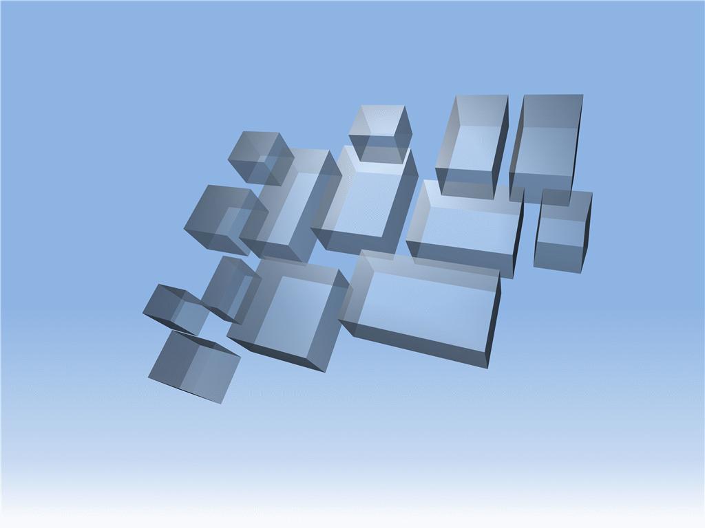 Floating transparent 3-D rectangles