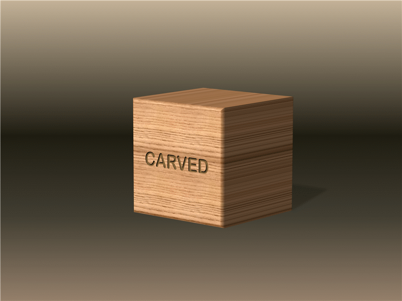3-D wood block with texture and engraved text