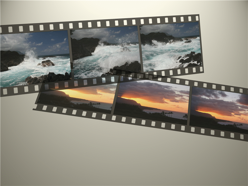Picture series in film strip effect