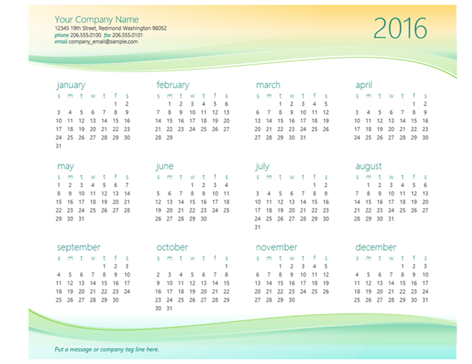 Small business calendar (any year)