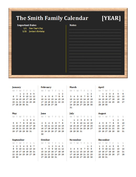 Family calendar (any year, Mon-Sun)