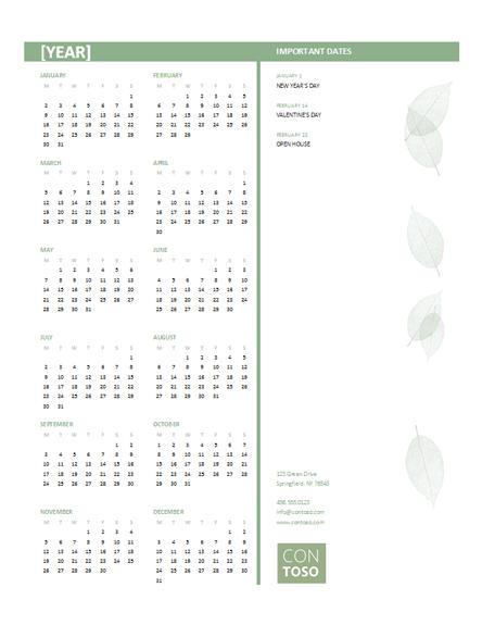 Small business calendar (any year, Mon-Sun)