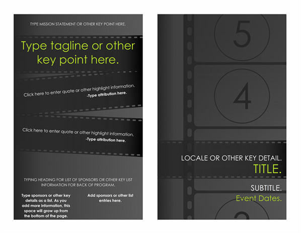 Film Festival Program  Free Brochure Design Templates Word
