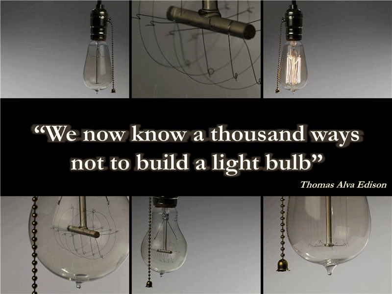 Light bulb presentation slide with quote and video