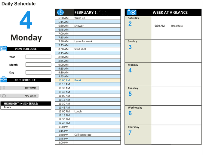 Daily work schedule for Daily work tracker template
