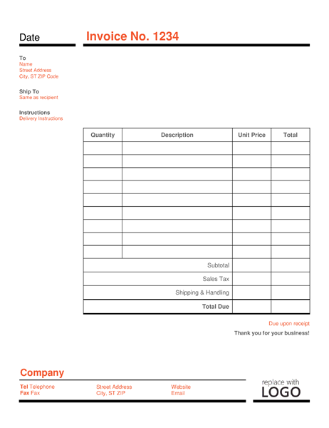Business Invoice Red And Black Office Templates - Microsoft excel invoice template for service business