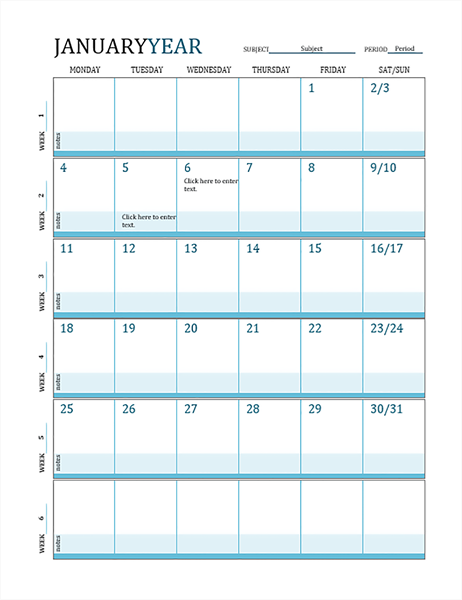 Lesson plan calendar - Office Templates